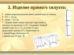 2. Изделие прямого силуэта: спинка разрезная (изделие имеет средний шов на сп