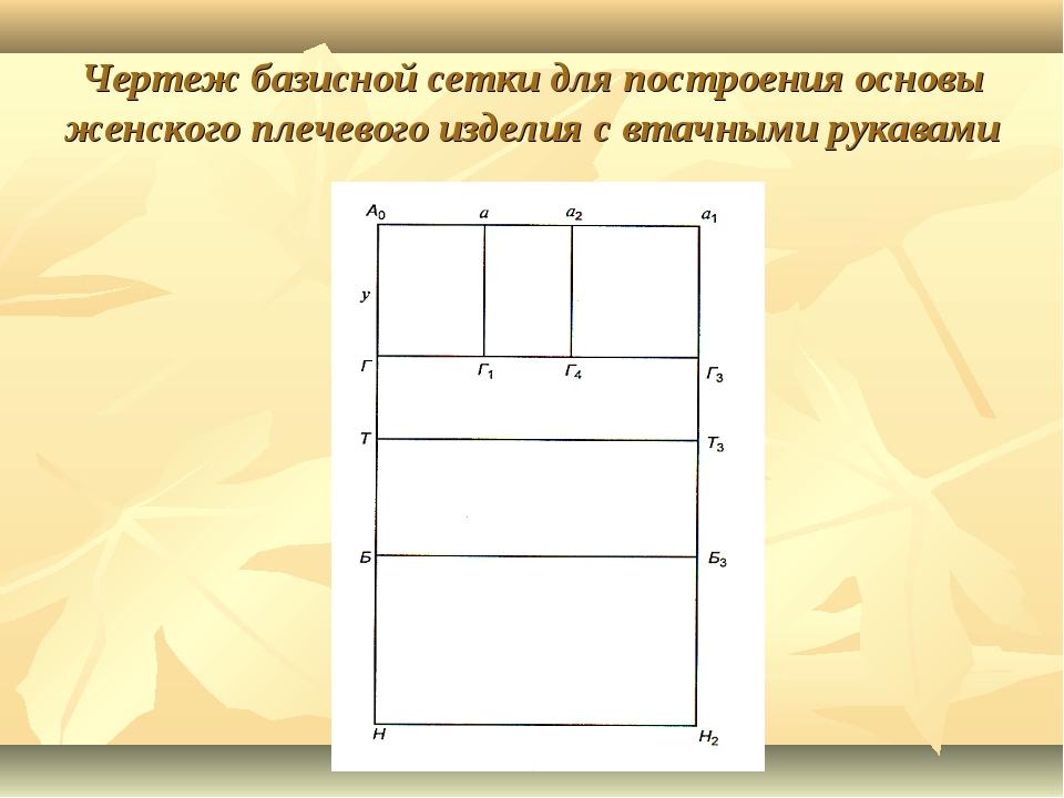 Чертеж базисной сетки для построения основы женского плечевого изделия с втач...