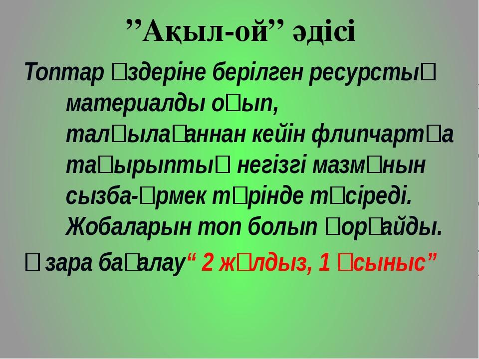 """""""Ақыл-ой"""" әдісі Топтар өздеріне берілген ресурстық материалды оқып, талқылаға..."""