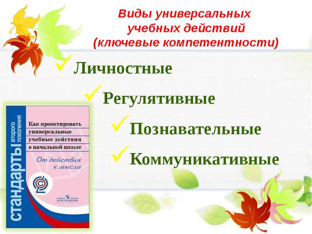 Виды универсальных учебных действий (ключевые компетентности) Личностные Регу...