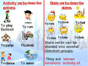 To play football To run To swim To jump To climb To dance Activity verbs desc