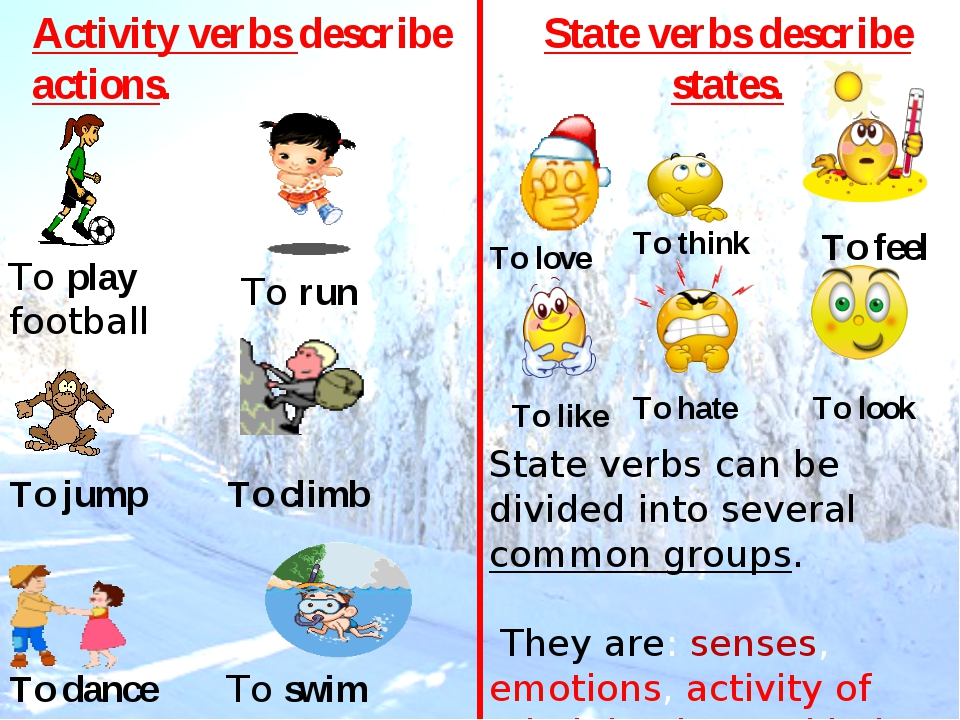 To play football To run To swim To jump To climb To dance Activity verbs desc...
