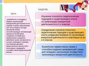 разработать и внедрить модель организации внеурочной деятельности на первой