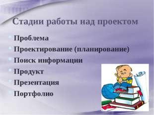 Проблема Проектирование (планирование) Поиск информации Продукт Презентация