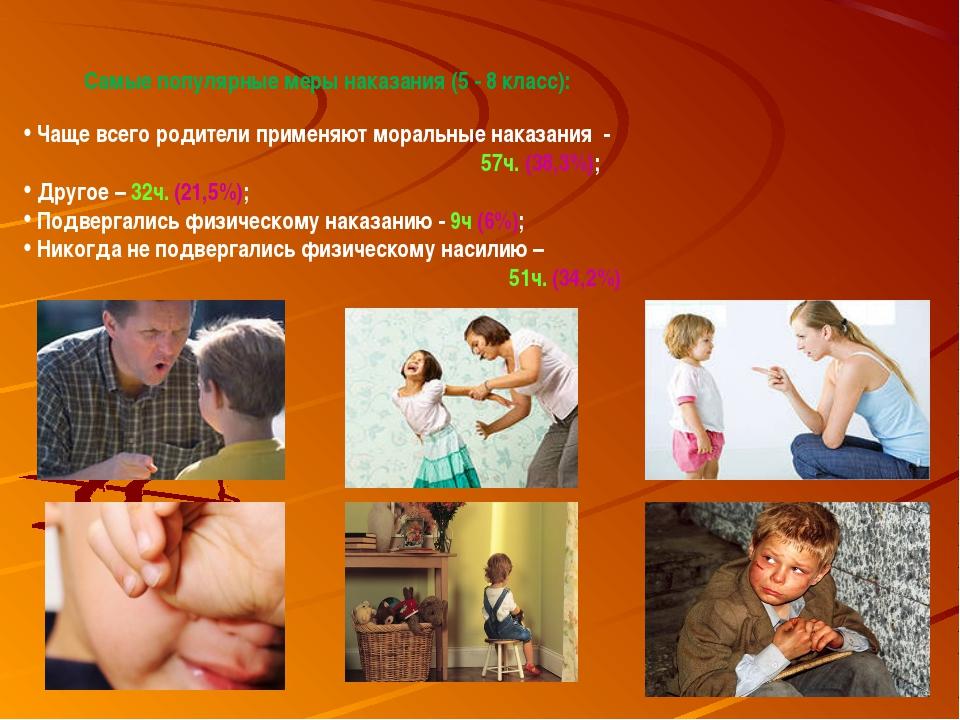 Самые популярные меры наказания (5 - 8 класс): Чаще всего родители применяют...