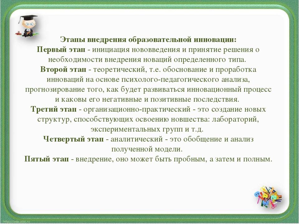 Этапы внедрения образовательной инновации: Первый этап- инициация нововведен...