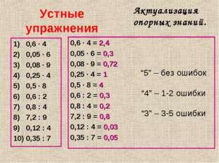 Устные упражнения 0,6 · 4 0,05 · 6 0,08 · 9 0,25 · 4 0,5 · 8 0,6 : 2 0,8 : 4