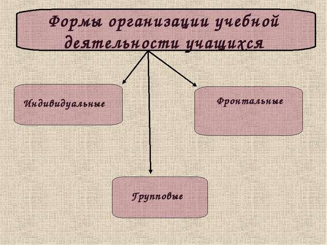 Формы организации учебной деятельности учащихся Индивидуальные Фронтальные Гр...