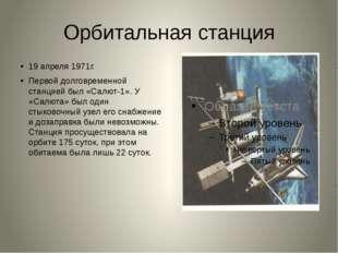 Орбитальная станция 19 апреля 1971г. Первой долговременной станцией был «Салю