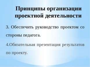 Принципы организации проектной деятельности 3. Обеспечить руководство проекто