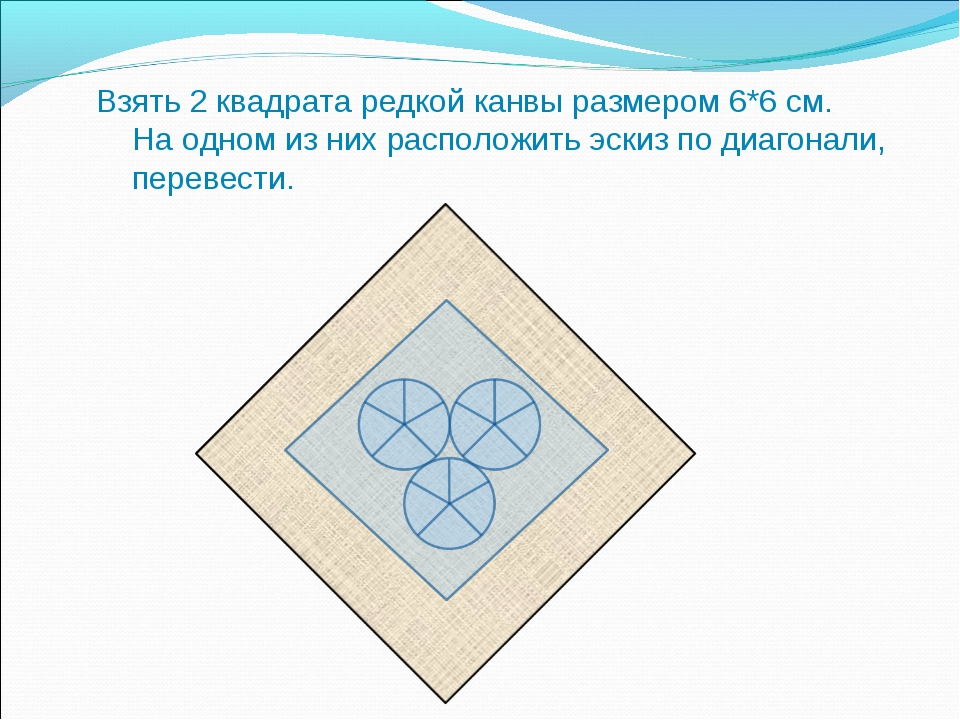 Взять 2 квадрата редкой канвы размером 6*6 см. На одном из них расположить эс...
