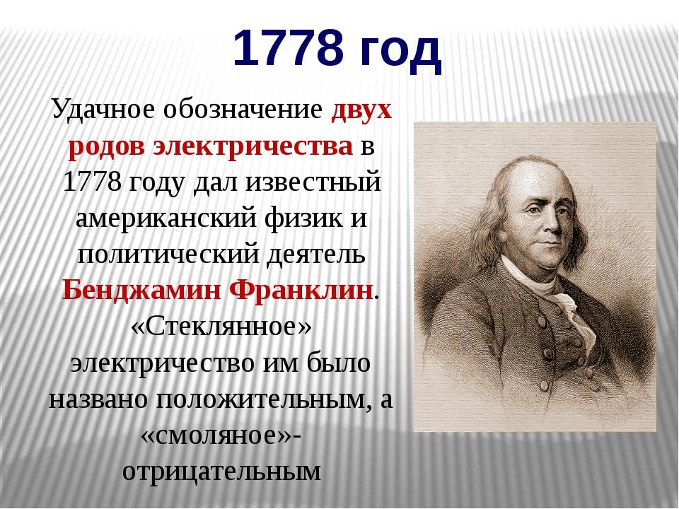 1778 год Удачное обозначение двух родов электричества в 1778 году дал известн...