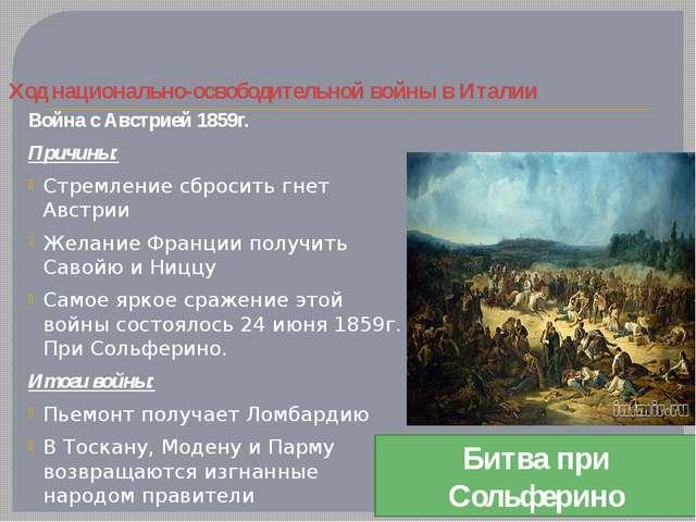 Ход национально-освободительной войны в Италии Война с Австрией 1859г. Причин...