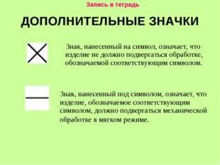 ДОПОЛНИТЕЛЬНЫЕ ЗНАЧКИ Знак, нанесенный под символом, означает, что изделие, о