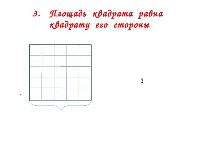 3. Площадь квадрата равна квадрату его стороны B S = a A E а