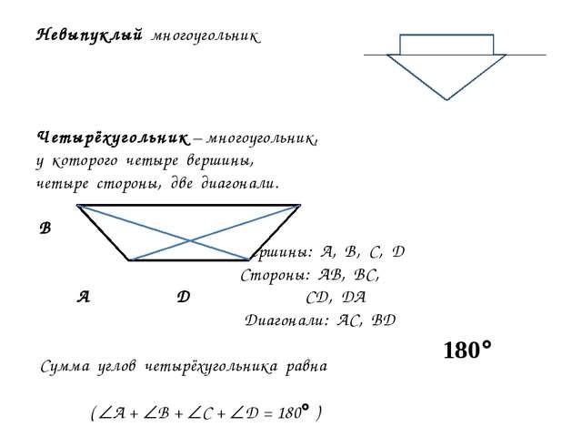 Невыпуклый многоугольник Четырёхугольник – многоугольник, у которого четыре в...
