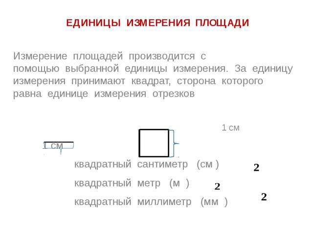 ЕДИНИЦЫ ИЗМЕРЕНИЯ ПЛОЩАДИ Измерение площадей производится с помощью выбранной...