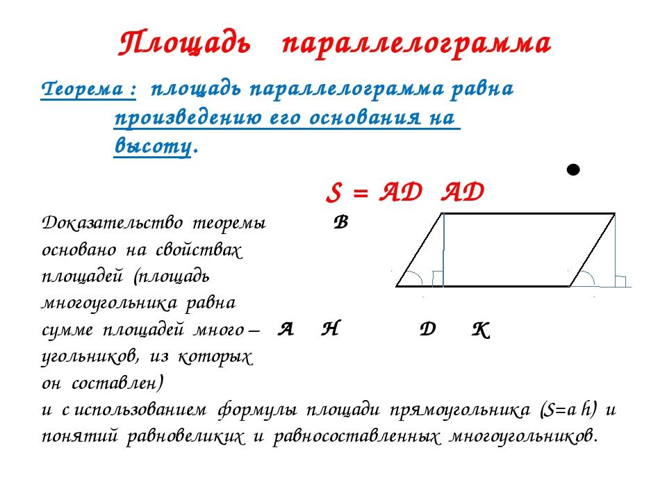 Площадь параллелограмма Теорема : площадь параллелограмма равна произведению...