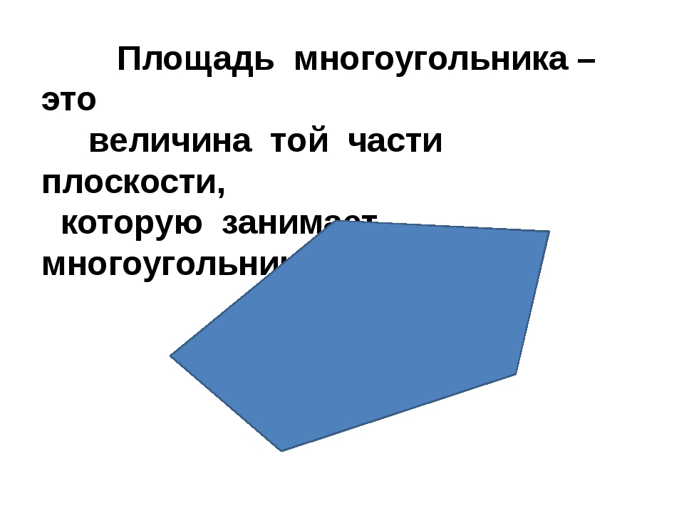 Площадь многоугольника – это величина той части плоскости, которую занимает...
