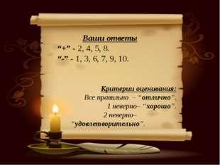"""Ваши ответы """"+"""" - 2, 4, 5, 8. """"-"""" - 1, 3, 6, 7, 9, 10. Критерии оценивания: В"""