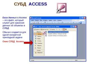 СУБД ACCESS База данных в Access – это файл, который служит для хранения данн