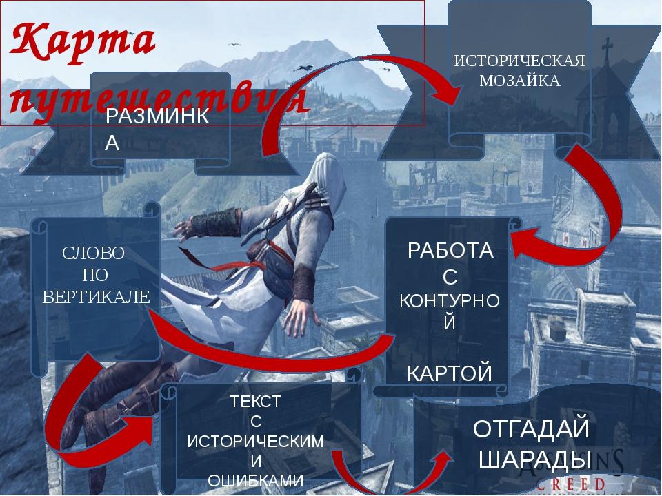 Карта путешествия РАЗМИНКА ИСТОРИЧЕСКАЯ МОЗАЙКА РАБОТА С КОНТУРНОЙ КАРТОЙ СЛ...