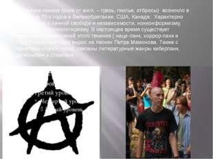 Движение панков (punk от англ. – грязь, гнилье, отбросы) возникло в середине