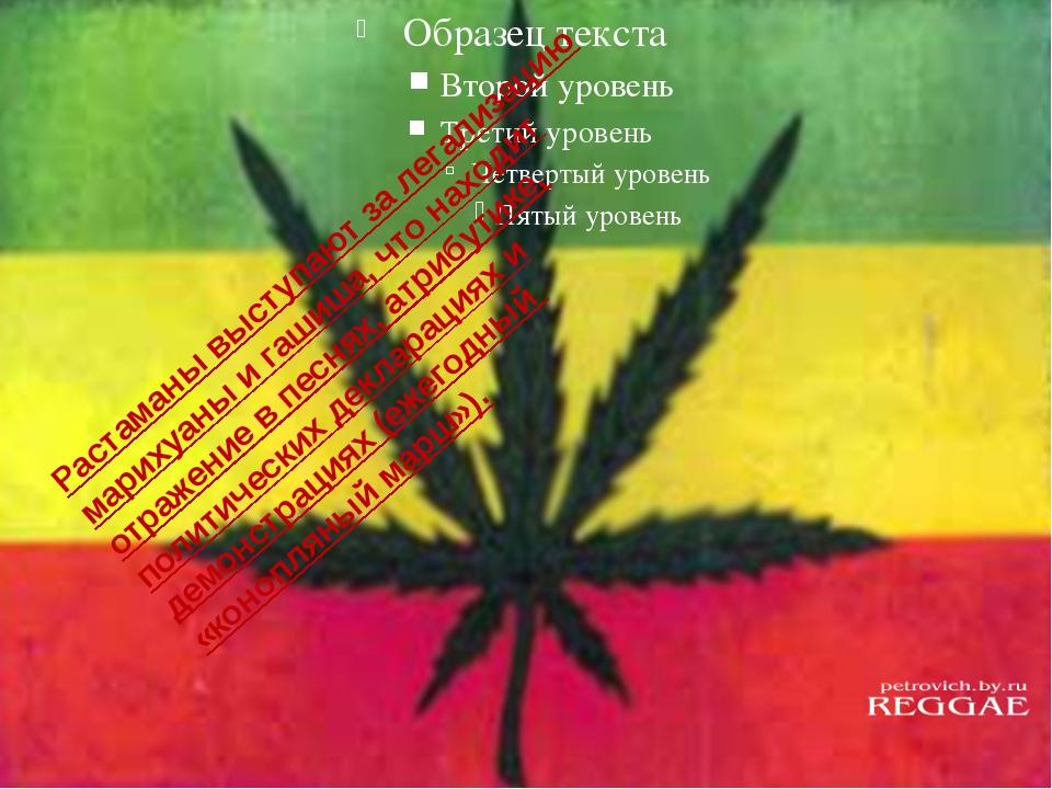 Растаманы выступают за легализацию марихуаны и гашиша, что находит отражение...