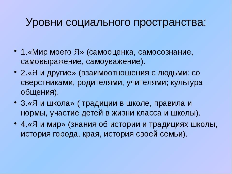 Уровни социального пространства: 1.«Мир моего Я» (самооценка, самосознание, с...
