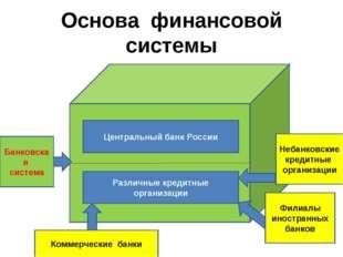 Основа финансовой системы Центральный банк России Различные кредитные организ