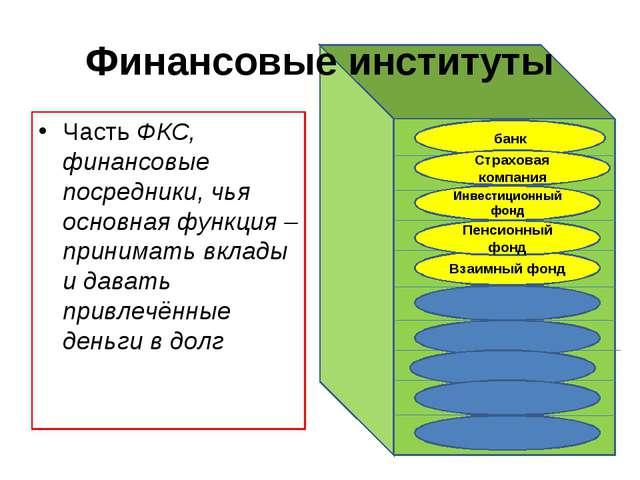 Финансовые институты Часть ФКС, финансовые посредники, чья основная функция –...