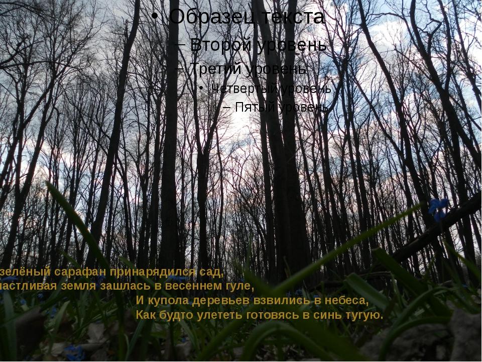 В зелёный сарафан принарядился сад, Счастливая земля зашлась в весеннем гуле...