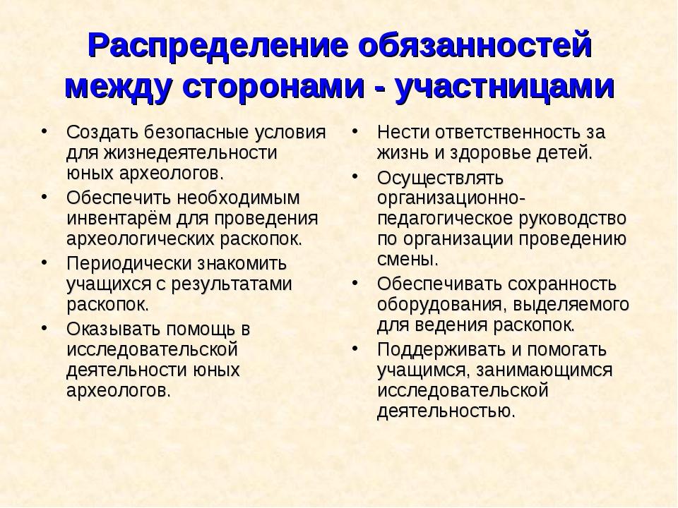 Распределение обязанностей между сторонами - участницами Создать безопасные у...