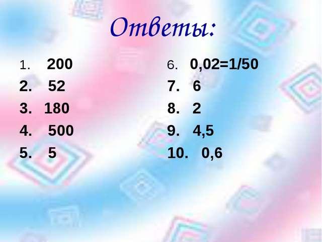 Ответы: 200 52 180 500 5 6. 0,02=1/50 7. 6 8. 2 9. 4,5 10. 0,6