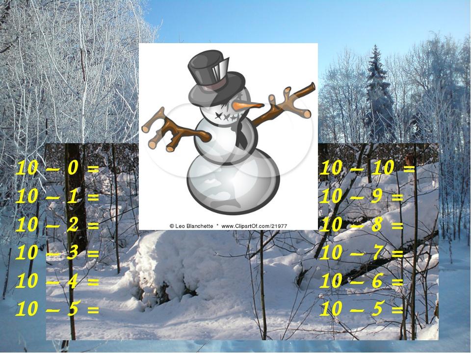 10 – 0 = 10 – 1 = 10 – 2 = 10 – 3 = 10 – 4 = 10 – 5 = 10 – 10 = 10 – 9 = 10 –...