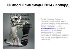 Символ Олимпиады 2014 Леопард Белый леопард Барсик – сильный, выносливый звер