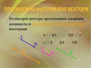 Колінеарні вектори протилежних напрямів, називаються протилежно напрямленими