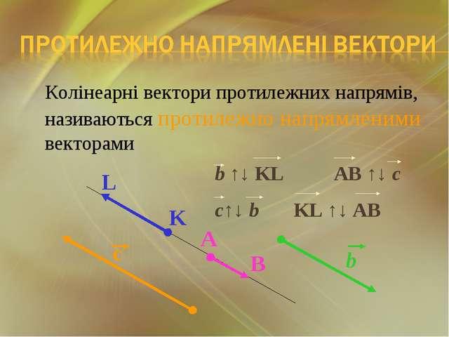 Колінеарні вектори протилежних напрямів, називаються протилежно напрямленими...