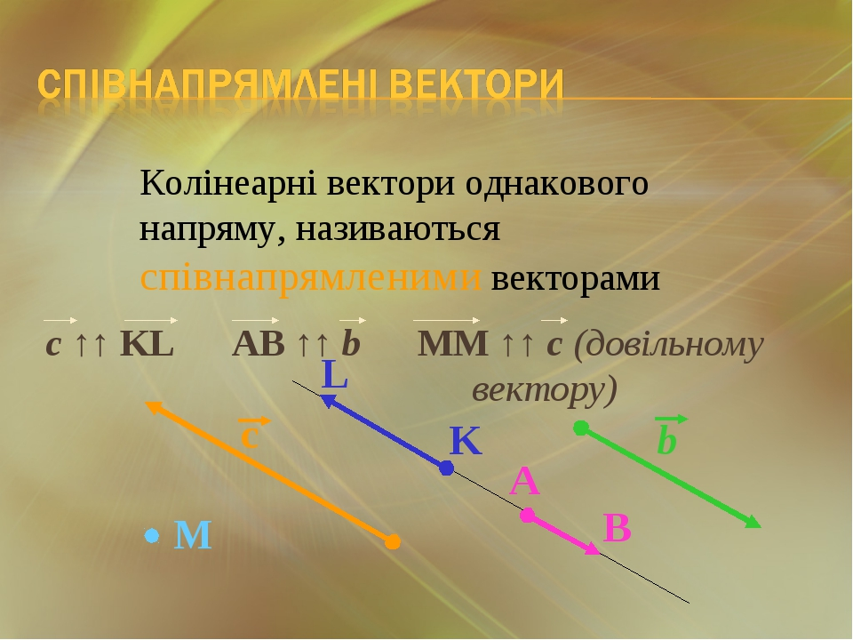 Колінеарні вектори однакового напряму, називаються співнапрямленими векторами