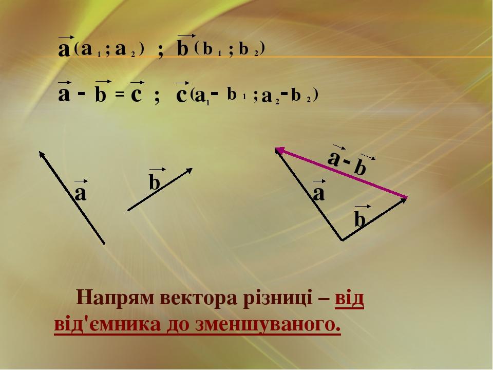 Напрям вектора різниці – від від'ємника до зменшуваного.