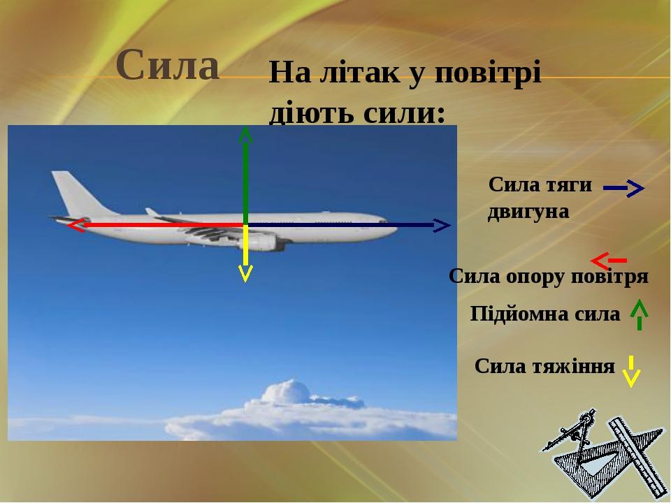 Сила На літак у повітрі діють сили: Сила тяги двигуна Сила опору повітря Підй...
