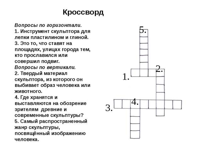 Кроссворд 1. 4. 3. 2. 5. Вопросы по горизонтали. 1. Инструмент скульптора для...