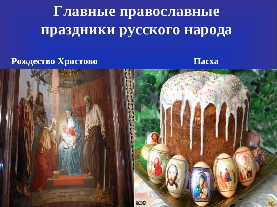 Главные православные праздники русского народа Рождество Христово Пасха