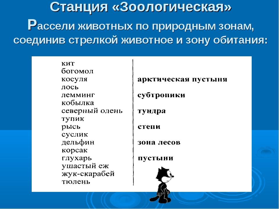 Станция «Зоологическая» Рассели животных по природным зонам, соединив стрелко...
