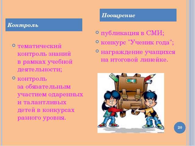 тематический контроль знаний врамках учебной деятельности; контроль заобяза...
