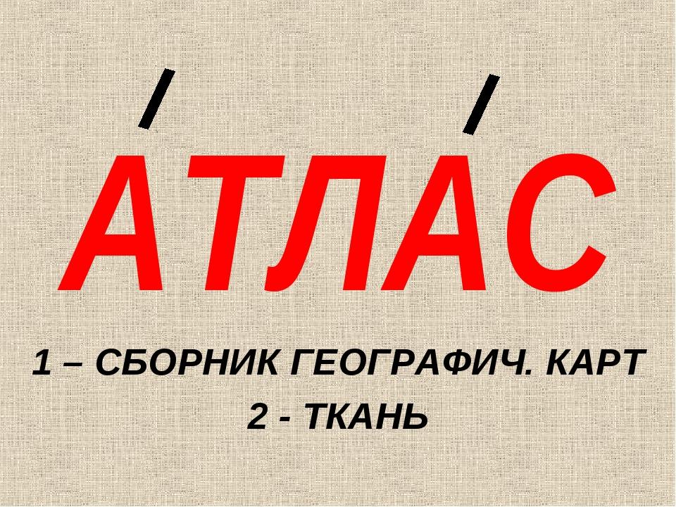 АТЛАС 1 – СБОРНИК ГЕОГРАФИЧ. КАРТ 2 - ТКАНЬ