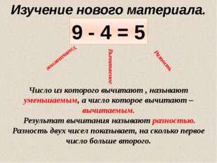 9 - 4 = 5 Уменьшаемое Вычитаемое Разность Изучение нового материала. Число из