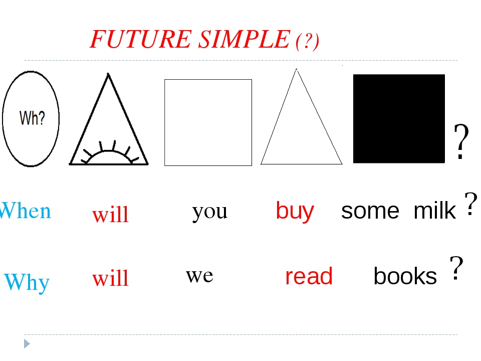 FUTURE SIMPLE (?) buy some milk read books will you we will When Why
