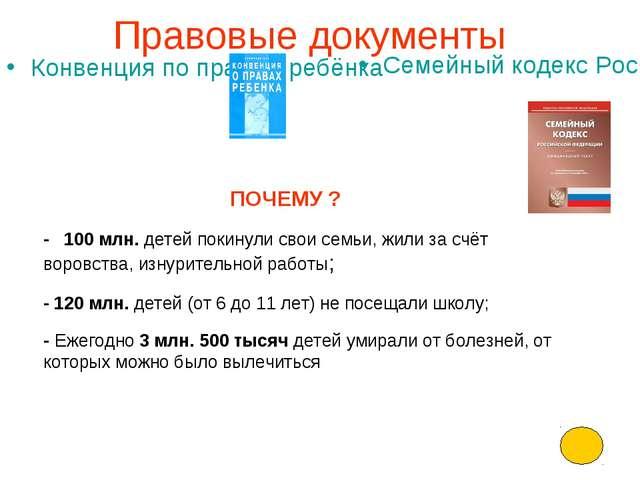 Правовые документы Конвенция по правам ребёнка Семейный кодекс Российской Фед...