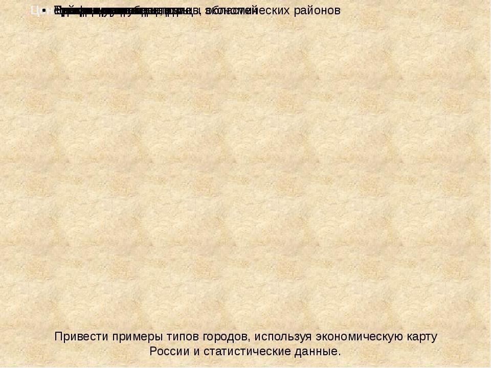 Привести примеры типов городов, используя экономическую карту России и стати...